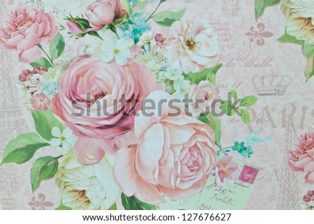 romantic rose pattern,floral pattern,winter - stock photo