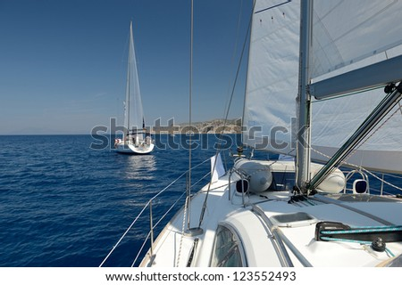 Romantic sailing yacht - stock photo