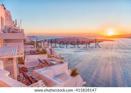 Romantic Santorini island during sunset, Greece, Europe. Summer concept. - stock photo