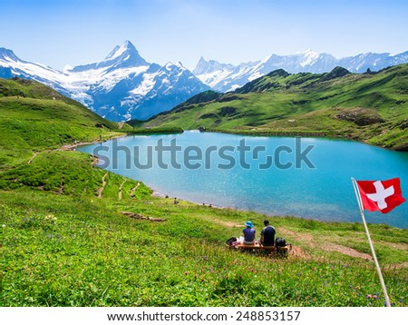 Romantic scene, reflection of the famous Matterhorn in lake, Zermatt, Switzerland. - stock photo