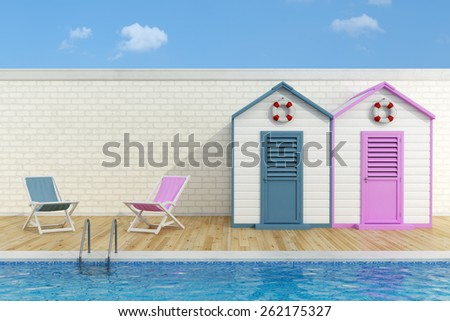 Romantic scene with  blue and pink  cabins and deck chairs poolside - 3D Rendering - stock photo