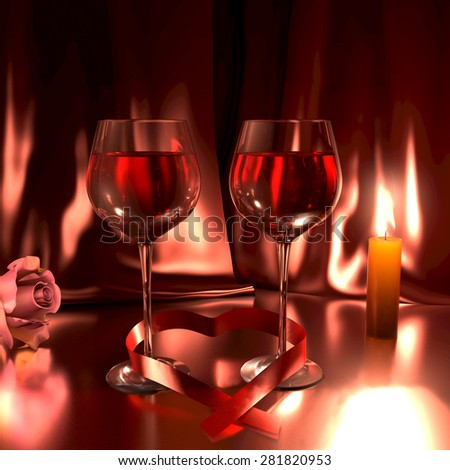 Romantic scene with two glasses of good red wine, a rose, and a lit candle. This illustration symbolizes love. - stock photo