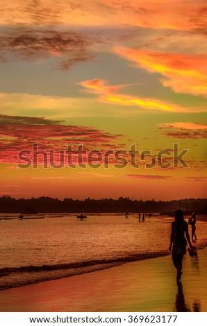 Romantic scenery of Weligama beach with amazing sunset, Sri Lanka - stock photo