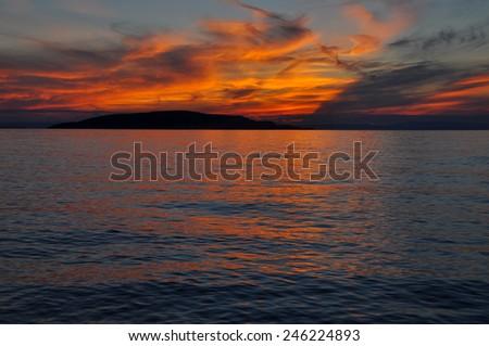 Romantic sea sunset - stock photo