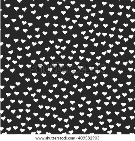 Romantic seamless pattern. Tiny white hearts. Abstract repeating. Cute backdrop. Black background. Template for Valentine's, Mother's Day, wedding, scrapbook, surface textures.  - stock photo