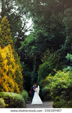 Romantic, sensual couple hugging in a park alley, surrounded by nature - stock photo