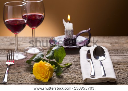 romantic set table with candle light - stock photo