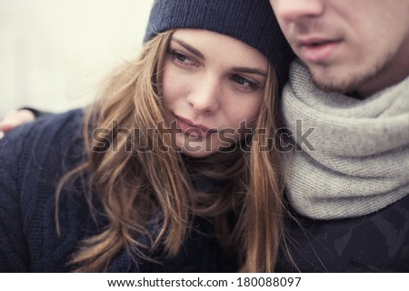 romantic shot of young loving couple - stock photo