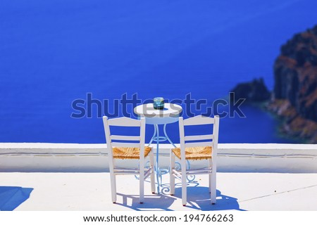 romantic spot in Santorini island , Greece  - stock photo