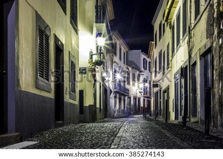 Romantic street in Funchal, Madeira, Portugal . - stock photo