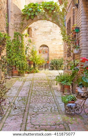 Romantic street with stone arch decorated with plants (Spello, Umbria, Italy.) - stock photo