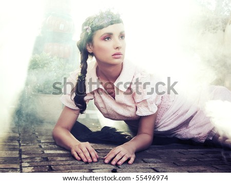 Romantic style portrait of a young brunette beauty - stock photo