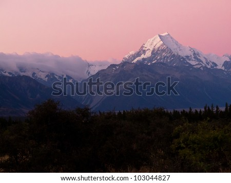 Romantic sunset at Aoraki, Mount Cook, highest peak of Southern Alps, an iconic New Zealand landscape - stock photo