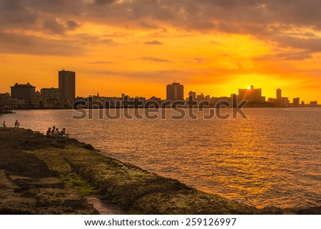 Romantic sunset in Havana with a view of the city skyline - stock photo