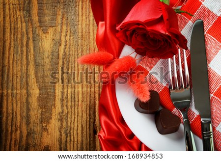 romantic table setting for valentines day  - stock photo
