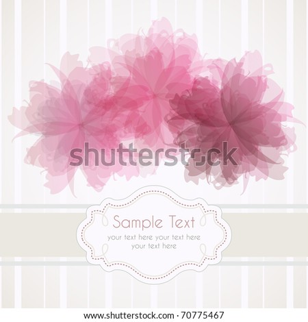 Romantic template frame design for greeting card - stock photo