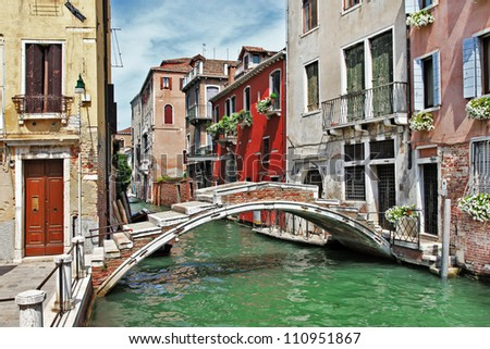romantic Venetian canals - stock photo