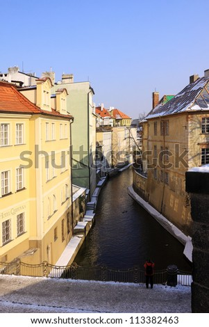 Romantic View on the snowy Prague Certovka, Czech Republic - stock photo