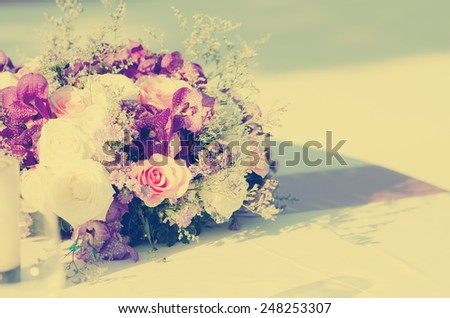 Romantic vintage rose  bouquet. - stock photo