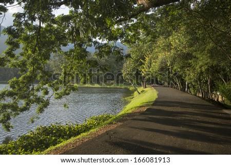 Romantic walk way beside a lake - stock photo