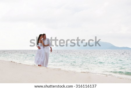 Romantic young couple near the seaside - stock photo