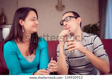Romantic Young Couple Toasting and Drinking,Italy - stock photo