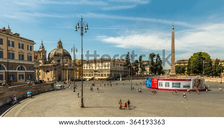 "ROME- AUGUST 1: Piazza del Popolo (""People's Square"") is a large oval square in Rome August 1, 2015 in Rome, Italy. - stock photo"