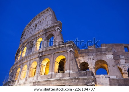 Rome Coliseum at sunset - stock photo