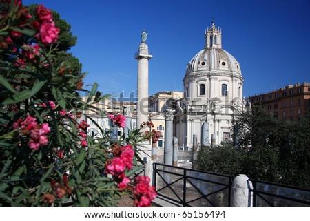 Rome, column of Trajan, Italy - stock photo