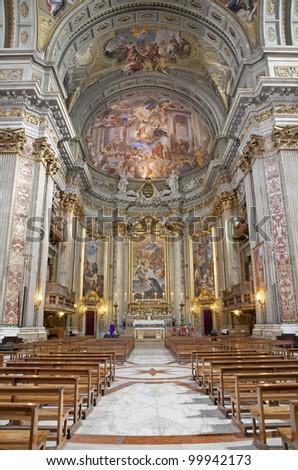Rome - interior - main altar of Il Jesu church - stock photo