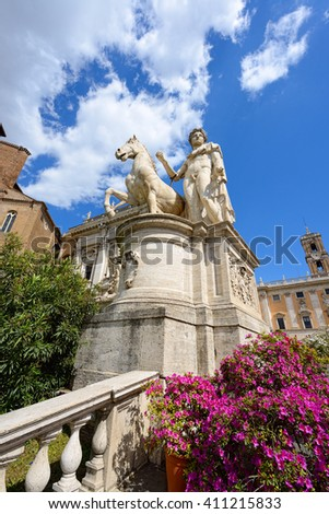 ROME, ITALY- APRIL 19,2016: Dioskouros marble statue over the Capitoline Hill in Rome, Italy. - stock photo
