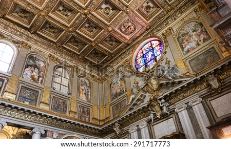 ROME, ITALY - APRIL 9, 2015:  Interior of the church of Santa Maria Maggiore, Detail of the baroque Ceiling - stock photo