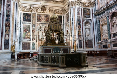 ROME, ITALY - APRIL 9, 2015:  Interior of the church of Santa Maria Maggiore, the Tabernacle by Ricci 16th century artist - stock photo
