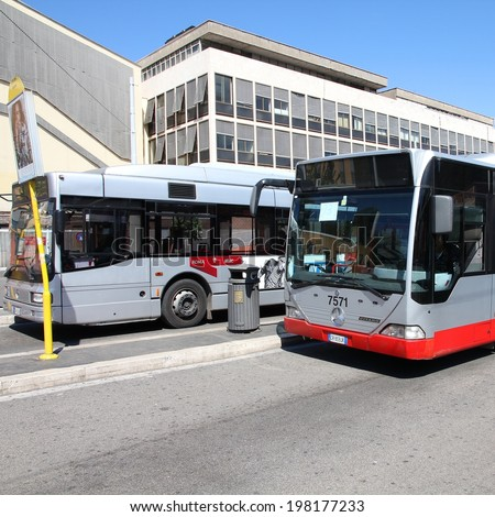 ROME, ITALY - APRIL 9, 2012: Mercedes bus operated by ATAC in Rome. With 350 bus lines and 8000 bus stops, ATAC is one of the largest bus operators in the world. - stock photo