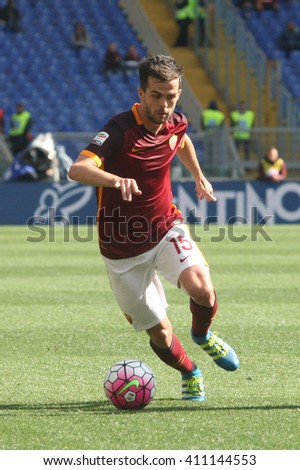 ROME, ITALY - April 2016 : Pjanic in action during fotball match  serie A  League 2015/2016 between A.s. Roma  vs Napoli  at the Olimpic Stadium  on april 25, 2016 in Rome. - stock photo