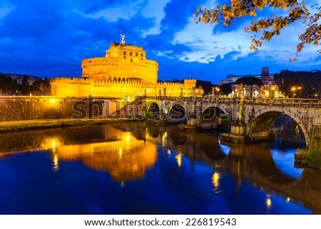 Rome, Italy. Castel Sant'Angelo, Castel Sant Angelo, morning twilight imgage. Fortress built as Mausoleum of Hadrian in 123AD ancient Roman Empire landmark. - stock photo