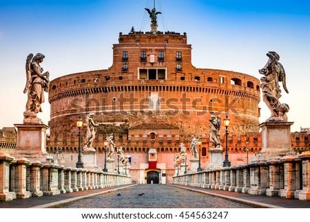 Rome, Italy. Castle Sant Angelo twilight, built by Hadrian emperor as mausoleum in 123AD ancient Roman Empire landmark. - stock photo