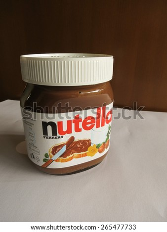 ROME, ITALY - CIRCA FEBRUARY 2015: Nutella jar Ferrero Nutella has been one of the best known Italian products worldwide for a few decades - stock photo