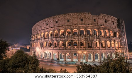 Rome, Italy: Colosseum, Flavian Amphitheatre at night - stock photo