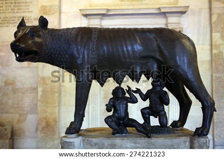 ROME, ITALY - DECEMBER 18, 2011: Etruscan bronze statue Capitoline Wolf displayed in the Capitoline Museums in Rome, Italy. - stock photo