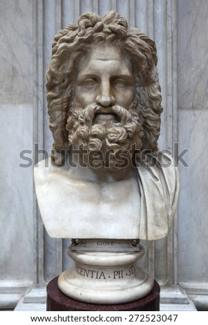 ROME, ITALY - DECEMBER 19, 2011: Roman marble bust of Zeus displayed in the Museo Pio Clementino of the Vatican Museums in Rome, Italy. - stock photo