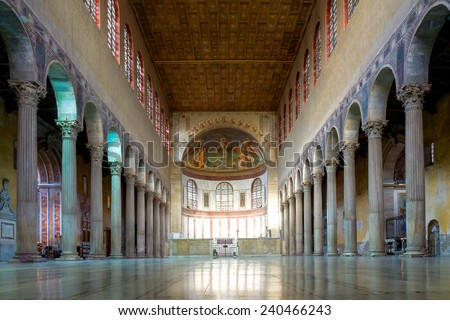 ROME, ITALY - December 20, 2014: Santa Sabina is the oldest extant Roman basilica in Rome that preserves its original colonnaded rectangular plan and architectural style. - stock photo