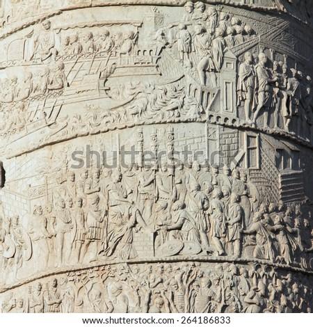 Rome, Italy - famous Trajan's Column. Old monument. - stock photo