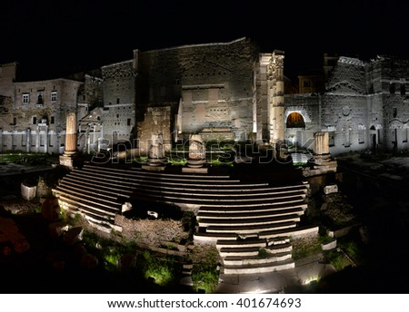 ROME. ITALY. FEBRUARY 24 2016 Ancient Roman ruins in Rome in the night, ROME. ITALY. FEBRUARY 24.2016 - stock photo