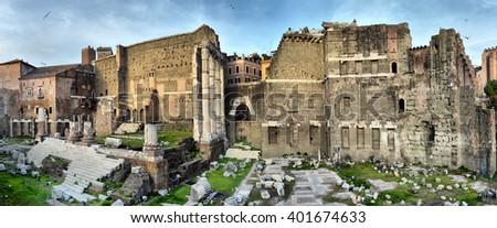 ROME. ITALY. FEBRUARY 24 2016 Ancient Roman ruins in Rome, ROME. ITALY. FEBRUARY 24.2016 - stock photo