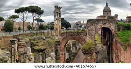 ROME. ITALY. FEBRUARY 23 2016 Ancient Roman ruins in Rome, ROME. ITALY. FEBRUARY 23.2016 - stock photo