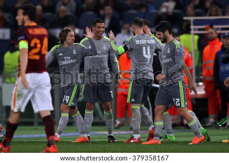 ROME, ITALY-FEBRUARY 2016 :  Ronaldo score the goal  in  football match  of Uefa Champions League last-16 between A.s. Roma vs Real Madrid at the Olimpic Stadium on Februry 17, 2016 in Rome - stock photo