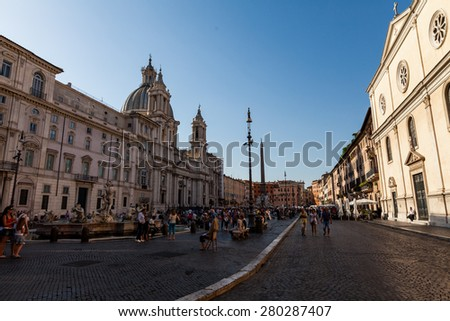 ROME, ITALY - JULY 21: Exterior views to the buildings at Piazza Navona, in Rome on July 21, 2012. Rome is the capital of Italy and region of Lazio. - stock photo