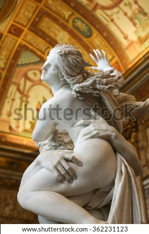 ROME, ITALY - JUNE 14, 2015:  baroque marble sculptural group by Italian artist Gian Lorenzo Bernini, Rape of Proserpine in Galleria Borghese, Rome, Italy - stock photo