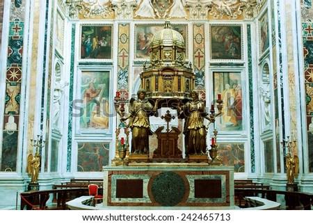 ROME, ITALY - JUNE 1: Basilica Santa Maria maggiore - Rome - inside  on June 1, 2014, Rome, Italy. - stock photo